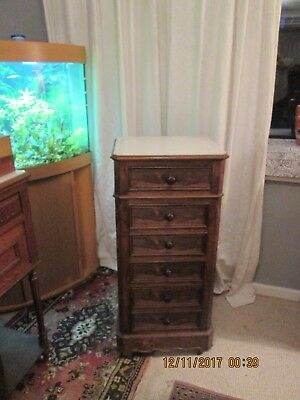 French antique tall bedside table cabinet, 6 drawers, 2  open as cupboard doors