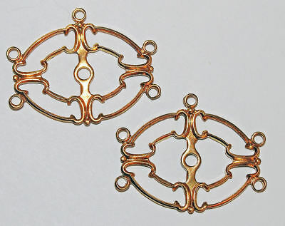 4 Vtg Fancy Burnished Gold Plate Brass Connectors pendants links with 5 loops