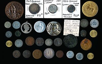 32 Old German Coins Medals & Tokens (Excellent Lot) Must See Pictures > No Rsrv