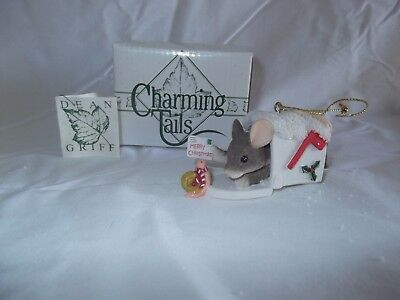 """""""A Special Delivery Ornament"""" Charming Tails by Dean Griff NIB 1998"""