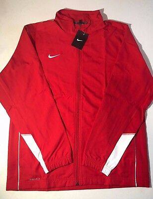 $65 Nike Mens Size Large Woven Dri Fit Athletic Full Zip Red White Light Jacket