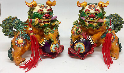 Chinese Ceramic Hand Painted Foo Dogs Lion Beast Figures Statues