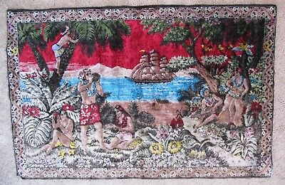 Very Rare & Extra Large Vintage Hawaiian Tapestry Rug Wall Hanging