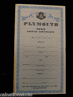 Plymouth Owner Service Certificate Unused and 3,000 Mile Coupons -1940's