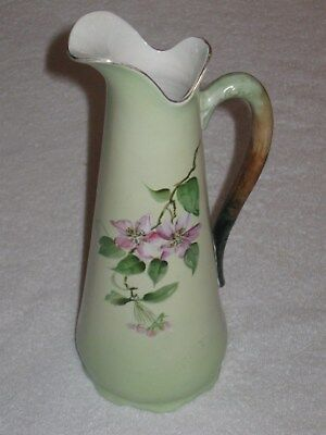 "Antique/Vintage Hampshire Pottery China Ewer Green With Flowers - 11"" Height"