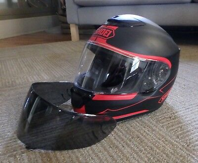 Shoei Qwest Motorcycle Helmet Size XS (Matte Black & Red), clear/tint shields
