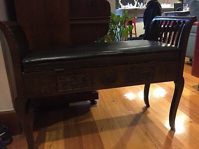 Antique Piano Stool / Bench Seat