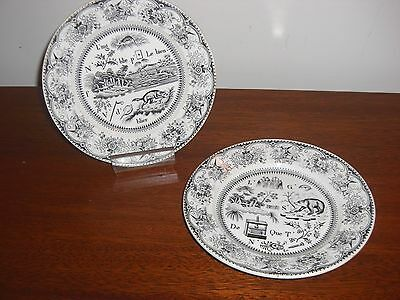 """Pair Of Stunning Antique Gien France 7 3/4"""" Blk & Wht Puzzle Transferware Plates"""