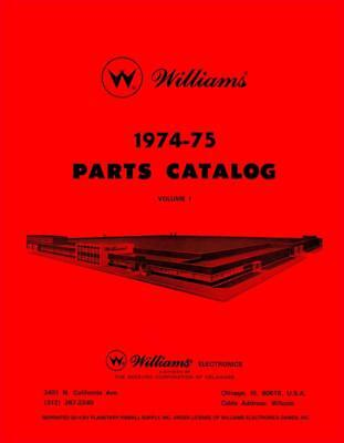 1974-75 Williams Pinball Game Parts Catalog Volume 1 Service & Repair Manual PPS