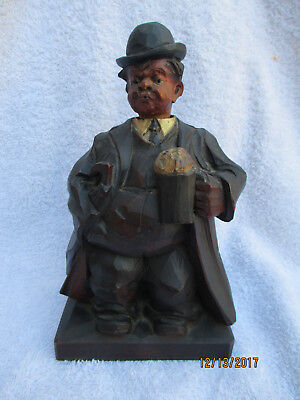 Vintage German Carved Wood Automation Drunk Whistler Sculpture-Karl Griesbaum??