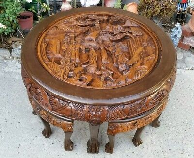 Vintage Wood Hand Carved Chinese Famille Table with 4 stools
