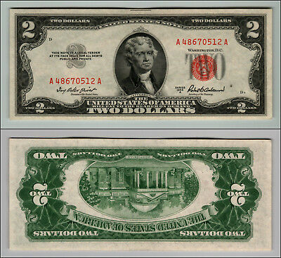 1953A $2 Dollar Bill Us Note Legal Tender Paper Money Currency Red Seal P790