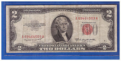 1953B $2 Dollar Bill Old Us Note Legal Tender Paper Money Currency Red Seal M527