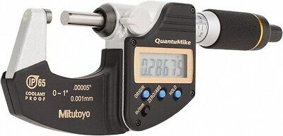 "Mitutoyo 293-185, 0 - 1"" X .00005""/0.001mm IP65 QuantuMike Outside Micrometer"