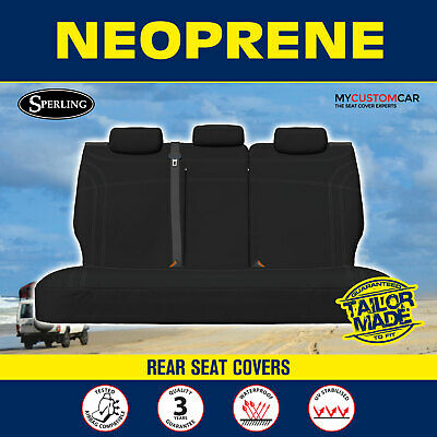 Ford Ranger PX MKII Dual Cab AUG/2015-On Rear Black Custom Neoprene Seat Covers