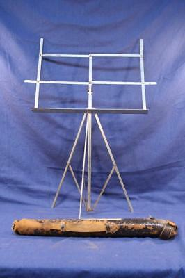 Antique Two-Piece Folding Music Stand in Leather Pouch