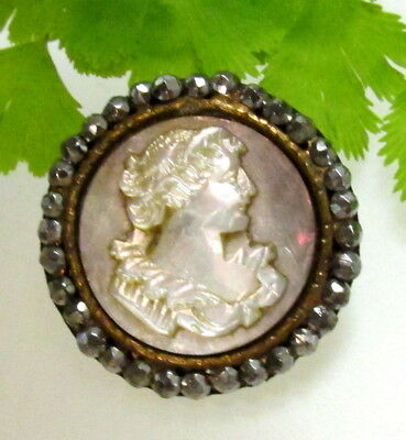 Stunning Victorian Cameo Cut Pearl Button Ladies Profile With Cut Steels D15