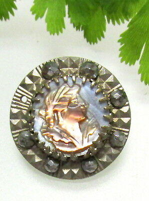 Nice Victorian Cameo Pearl Button With Cut Steel Border D75