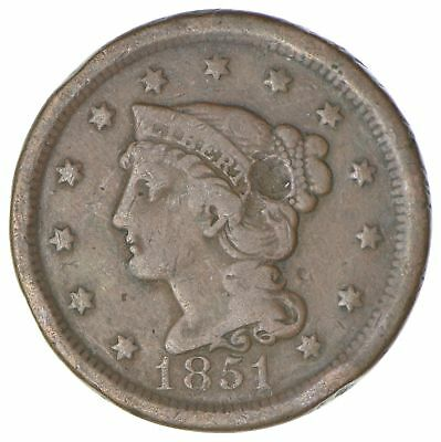 160 Years OLD - 1851 - US Type Coin Braided Hair Large Cent - Nice Shape *035