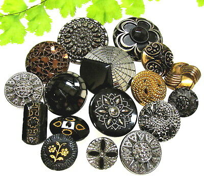 Gorgeous Lot Of Silver & Gold Luster Glass Buttons D111