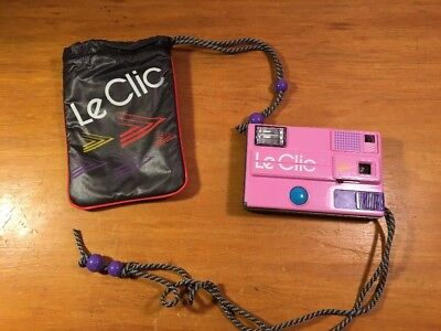 Vintage PINK Le Clic Disc Camera, 1980s Retro Untested, As-Is With Bag