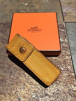 HERMES Lipstick Mustard Color Leather Chewing Gum Case  Well Used