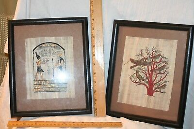 Two Hand painted  papyrus pictures from Egypt -framed