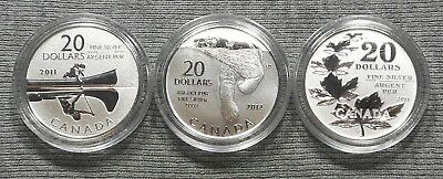 Lot Of 3 Canada $20 Silver Coins - 2011 Canoe, 2011 Maple Leaf & 2012 Polar Bear