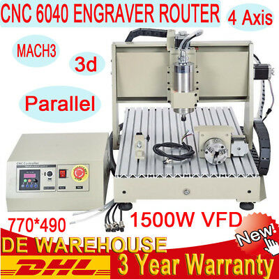 1500W VFD 4 AXIS 6040 CNC Router Engraving Machine 3D Carving Engraver Milling