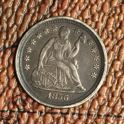 AU Original Toned 1856 Silver Seated Liberty Half Dime Luster Underneath PQ