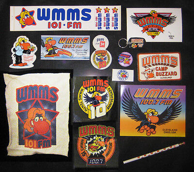 """""""THE CLASSIC WMMS CLEVELAND BUZZARD STICKER and BUTTON PACKAGE"""""""