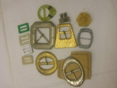 Vintage Lot Sewing Buckles Metal Plastic Mixed Sizes
