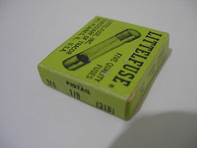 5X LITTELFUSE 3AG 1/8A (.0125A) 318 Fuse PIGTAIL 250V