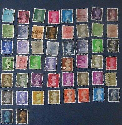 UK stamps: Machin selection of 50 used