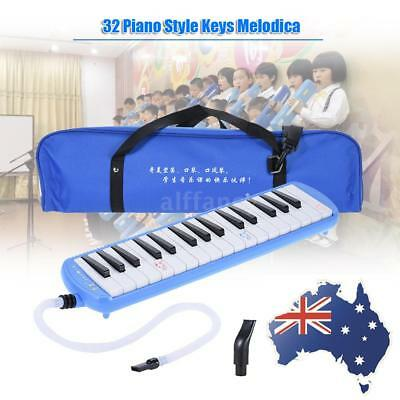 Blue 32-Key Melodion Melodica with 2 Mouthpieces Toy Gift for Kids N0I4
