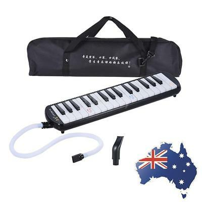 Black 32-Key Melodion Melodica with 2 Mouthpieces Christams Gift for Kids V6R4