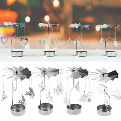 Silver Metal Rotating Spinner Carousel Candle Tea Light Holder Table Xmas Decor