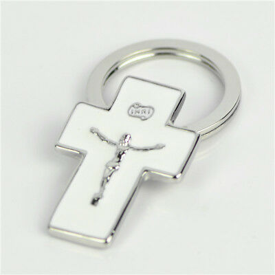 Silver Base Religious White Cross Keyring for Safety Traveling and Good Luck