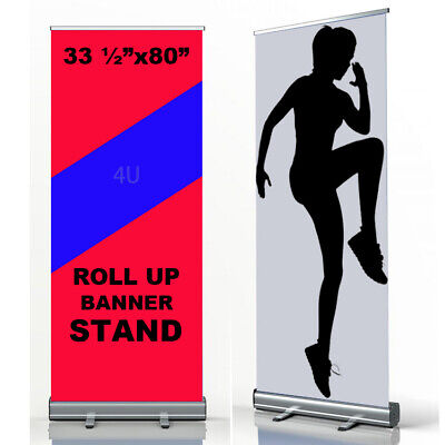 "33.5"" x 80"", Aluminum Retractable Roll Up Banner Stand Pop Up Trade Show Display"