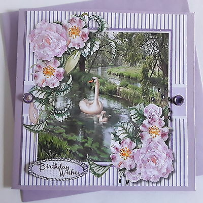 Swans on the Pond with flowers ~Birthday wishes~ Handmade card 3D~