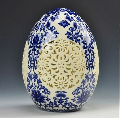 archaize china high-grade tusk porcelain Egg shape ornament Openwork carving