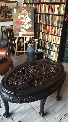 One of a kind Antique Chinese Hand Carved Wood Tea, Coffee Table early 1900's
