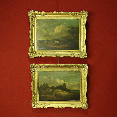 Antique couple painted landscapes frames wood and chalk golden french 800 XIX