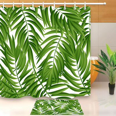 Green Leaf Pattern Tropical Palm Leaves Shower Curtain Bath Mat Waterpoof Fabric