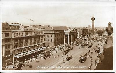 Old Postcard O Connell St & Nelsons Pillar Dublin - Real Photo