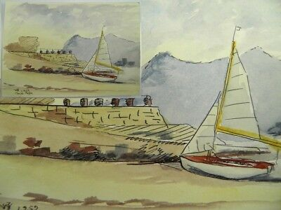 Mid 20th century watercolour painting by John H Wood Nefyn Wales landscape #8