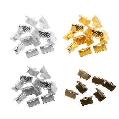 100pcs Mixed Sizes Ribbon Ends Fastener Clasps Textured Crimp End Clamp Cord End
