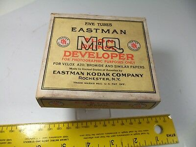 VINTAGE EASTMAN KODAK ELON QUINOL DEVELOPER  5 glass tubes BOX FULL