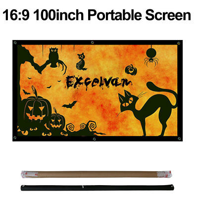 100'' Outdoor Projector Screen 16:9 Portable Folding Outdoor Home HD Projection