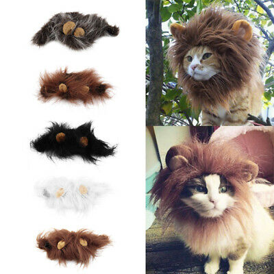 Cat Costume Lion style Hair, Head pet warm winter cap scarf Dress up for cat dog